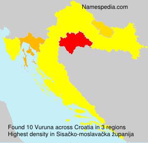 Surname Vuruna in Croatia