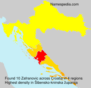 Surname Zafranovic in Croatia
