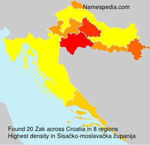Surname Zak in Croatia