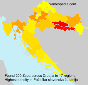 Surname Zeba in Croatia