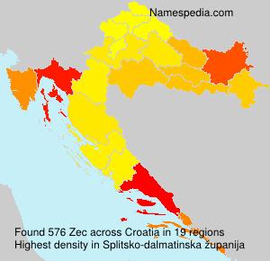 Surname Zec in Croatia