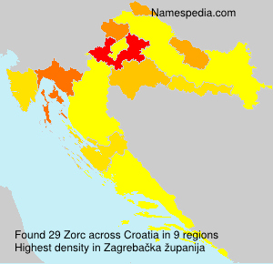 Surname Zorc in Croatia