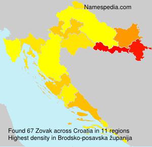 Surname Zovak in Croatia