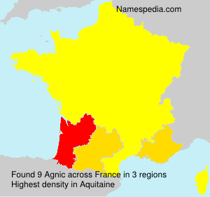 Surname Agnic in France
