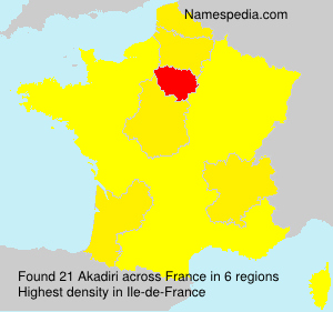 Surname Akadiri in France