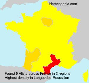 Surname Aliste in France