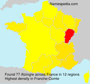 Surname Alzingre in France