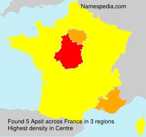 Familiennamen Apsit - France