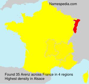 Surname Arenz in France