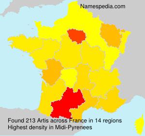 Surname Artis in France