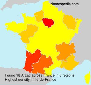 Familiennamen Arzac - France