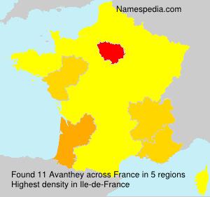 Familiennamen Avanthey - France