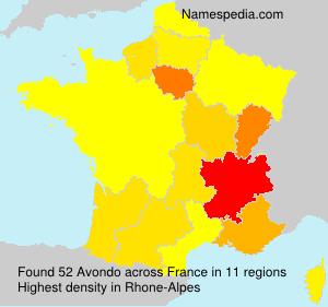 Familiennamen Avondo - France