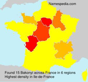 Surname Bakonyi in France
