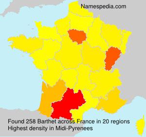Familiennamen Barthet - France