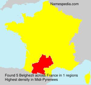 Familiennamen Belghezli - France