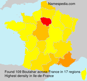 Surname Boutahar in France