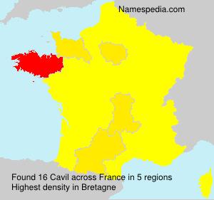 Surname Cavil in France