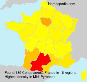Familiennamen Cenac - France