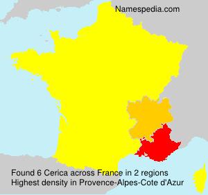 Familiennamen Cerica - France