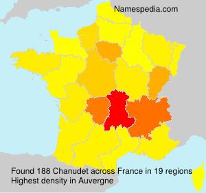 Familiennamen Chanudet - France