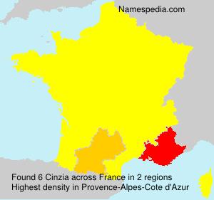 Surname Cinzia in France