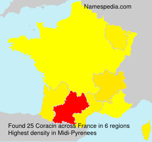 Surname Coracin in France