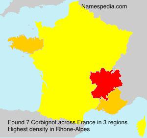 Familiennamen Corbignot - France