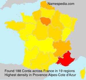 Familiennamen Corda - France