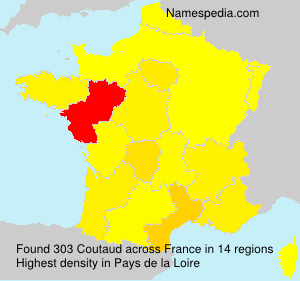 Surname Coutaud in France