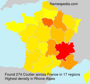 Surname Coutier in France