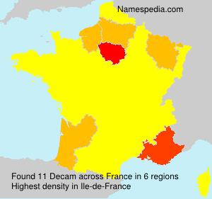 Surname Decam in France