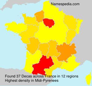 Familiennamen Decas - France