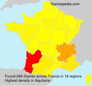 Surname Deyres in France