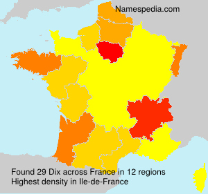 Surname Dix in France