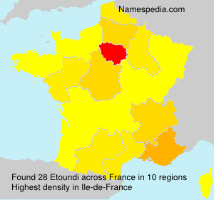 Surname Etoundi in France