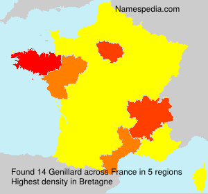 Surname Genillard in France
