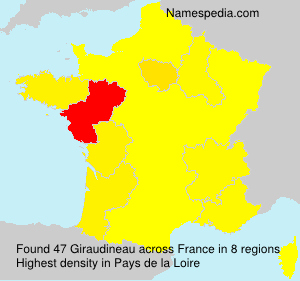 Surname Giraudineau in France