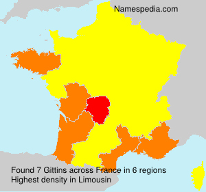 Surname Gittins in France