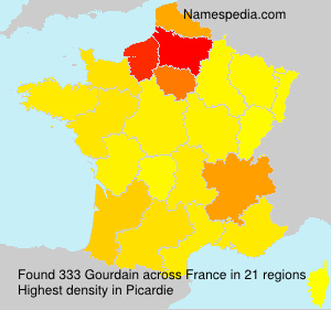 Surname Gourdain in France