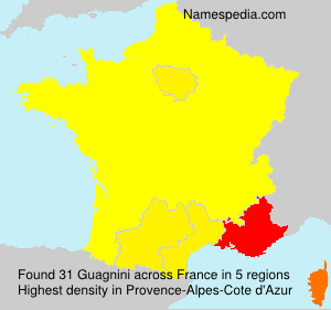 Surname Guagnini in France