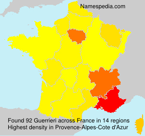 Surname Guerrieri in France