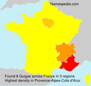 Familiennamen Guigas - France