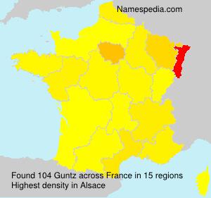 Familiennamen Guntz - France