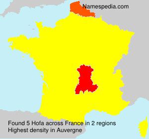 Familiennamen Hofa - France