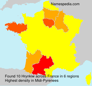 Surname Hrynkiw in France