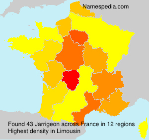 Surname Jarrigeon in France