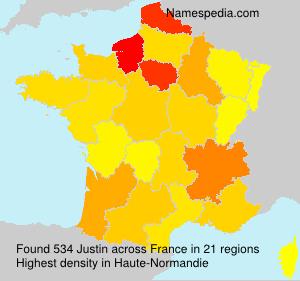 Surname Justin in France