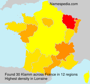 Familiennamen Klamm - France