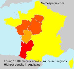 Surname Klemeniuk in France